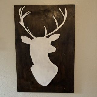 Hand Painted Deer Head Wooden portrait
