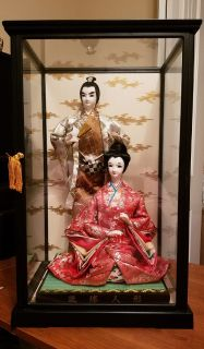 Japanese Doll Glass Display. 21 x around 12 1/2 inches.