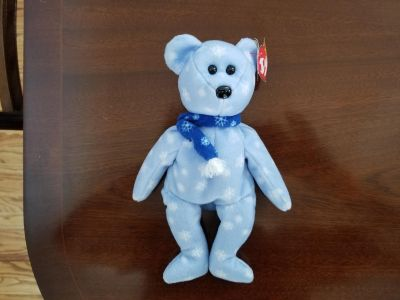 1999 Collectible Beanie Baby Holiday Snowflake Bear w Tag