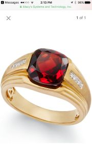 Men's Garnet (5 Ct. t.w.) & Diamond Accent Ring in 10k Gold