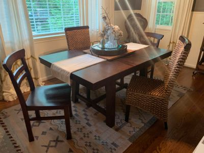 Wooden dining table + 4 chairs