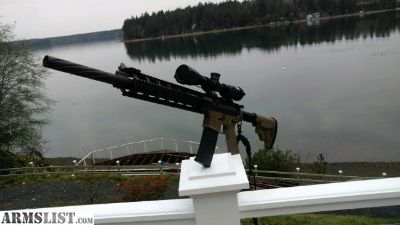 "For Sale: 20"" Bull Barrel AR15 Upper W/ Scope + Canted Iron Sights"