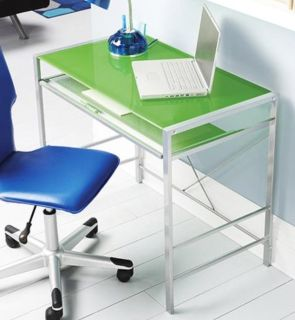 Green glass top desk with keyboard tray