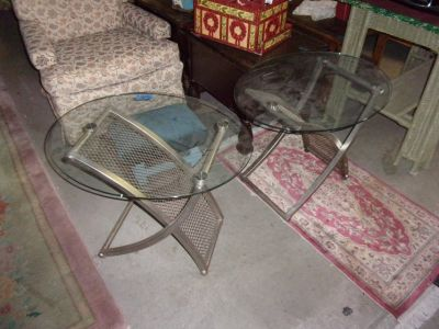 Set of Two Glass Top End Tables