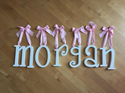 "Girls Room 9"" White Wood Wall Letters w/ Pink Satin Ribbon MORGAN"