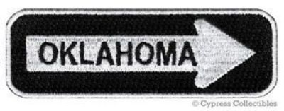 Purchase OKLAHOMA ROAD SIGN BIKER PATCH embroidered iron-on MOTORCYCLE VEST EMBLEM new motorcycle in Austin, Texas, United States