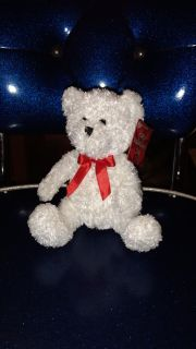 """Snow white colored, 6"""" Valentine's bear. Asking $1.00"""