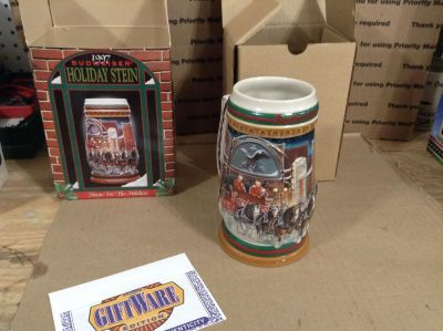 """1997 BUDWEISER """"Home For the Holidays"""" Holiday Stein"""