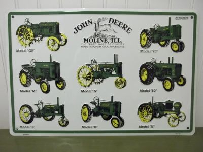 John Deere 12x18 Tractor Types Sign