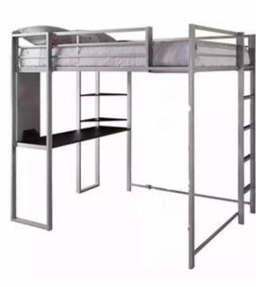 Metal Double Loft Bed Frame with Desk