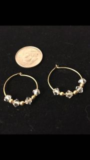 Small Gold Hoops w/Crystal Beads
