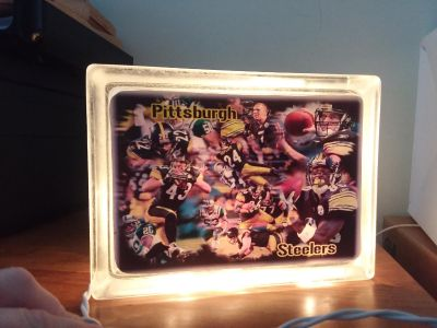 Steelers Lighted Glass Block New