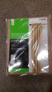"""Style Selections 63in """"Cafe"""" Rod Pocket Curtain Panel"""