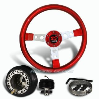 Find For Mitsubishi 350mm 6 Hole Red Wood Silver Spoke Steering Wheel + Hub Combo Kit motorcycle in Walnut, California, United States