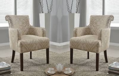 Set of (2) Regency Upholstered Accent Chairs (Doily) - NEW!