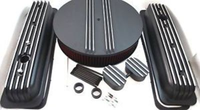 Purchase SB Chevy SBC Black Finned Center Bolt Aluminum Valve Cover Kit 305 350 1987-1995 motorcycle in Chatsworth, California, United States, for US $179.99