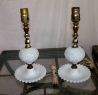 """White Hobnail Lamps $5 """"The Back Forty"""", Adel"""