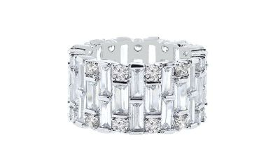***REDUCED***BRAND NEW***Baguette Swarovski Crystals Eternity Ring: 9***