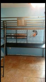 Twin size loft bed with full desk!!