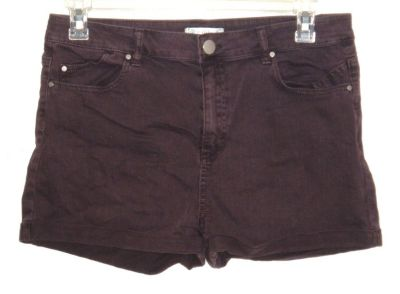 Love Fire Plum Purple Cuffed Denim Jean Shorts Womens 13 Junior Stretch Mid-Rise