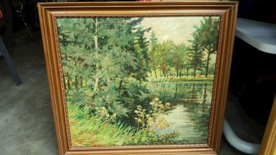 RENE VAN DE SANDE Oil on Canvas LANDSCAPE PAINTING