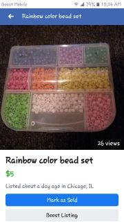 Rainbow color bead sets