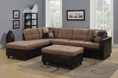 Reversible Tan Microfiber Sectional Sofa With Chaise Set And Pillows