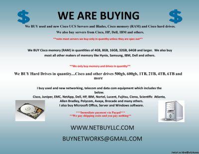WE BUY USED/NEW COMPUTER SERVERS, NETWORKING, MEMORY, DRIVES, CPU S, RAM, DRIVE STORAGE ARRAYS, HARD DRIVES, SSD DRIVES, INTEL & AMD PROCESSORS, DATA COM, TELECOM, IP PHONES & LOTS MORE