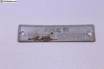 OG Made in Western Germany Tag Badge