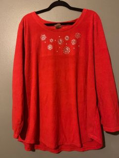 Red sweater with silver beading