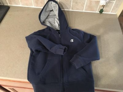 Boys blue hoodie with zipper, size 6.