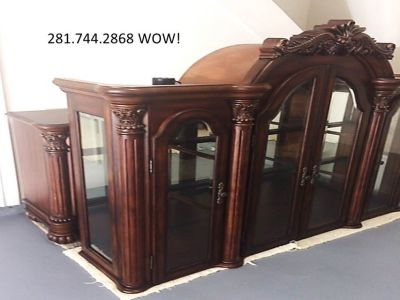 FURNITURE: Huge 2 pc Hutch/Buffet CHINA CABINET,mirrored back,glass shelves,velvet drawers.MINT!...