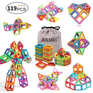 119 Piece Strong Magnetic Building Blocks Set for Educational, Science, Math, Engineering, Creative & Imagination Development