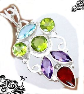 New - Natural Garnet, Peridot Amethyst and Blue Topaz 925 Sterling Silver Pendant (Includes a ch...