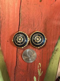 GOLD & NAVY NAUTICAL CLIP ON EARRINGS .50
