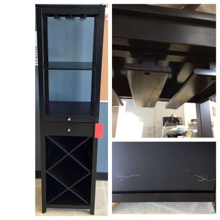 ACME Casey Wine Cabinet, Wenge (repaired from the glass holder and broken from the back)