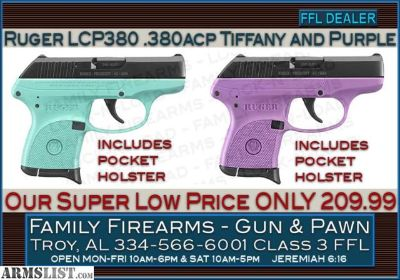 For Sale: Ruger LCP 380 .380ACP in Purple, Tiffany Blue and many other colors at ONLY 209.99