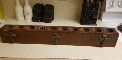 Solid Wood Tea Light Holder Cross Rustic Cabin Farm Barn Candle (Holds 10 candles)