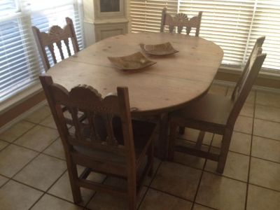 $290, dining set 4 chairs made of solid wood