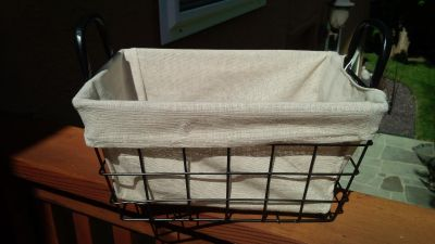 Tapered Rectangle Metal and Wire Basket with Removable Liner