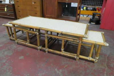 Vintage Mid century 3 pc. Bamboo coffee tables