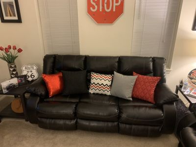 Ashley Oversized Leather Sofa, Rocking Lounge Chair, and Loveseat