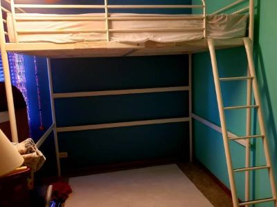 Loft Bed Full Size White Metal with Mattress