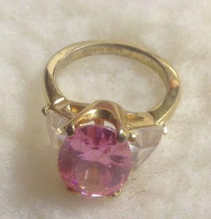 Pink Ice lab-created tourmaline ring with CZ trillion side accents set in 18K GE vermeil sz 7 1/2