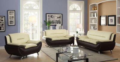 $650, Description Set includes sofa and loveseat Color Brown Material Leather Dimensions na  Item 283