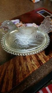 Vintage / Clear / Hen / Chicken / Candy Dish