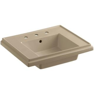 KOHLER K-2757-8-33 Tresham 24 in. Pedestal Sink Basin in Mexican Sand