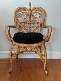 Boho Wicker Heart Chair