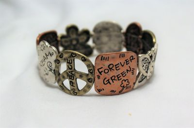 NWOT Antiqued Brass Bronze Gold Silver Tone Stretch Green Peace Environment Bracelet