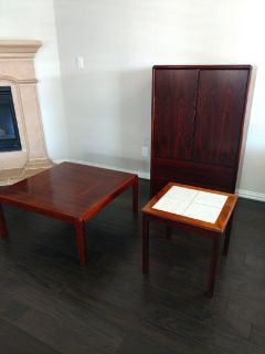 Rosewood Chest, Coffee Table, End Table